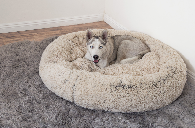 Pawsh Taupe Donut Cuddler Shag Pet Bed 45″ Round
